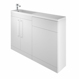 The White Space BISHBWH Scene I Shape Basin Unit with Doors - White