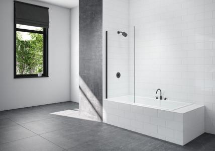 MERLYN BLKMB0 Black - Fixed Square Bathscreen 800x1500mm