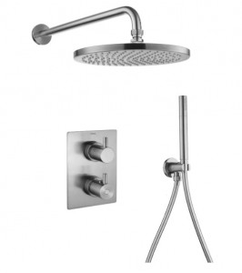 Flova BN-LVT2WPK1-SQ Levo-BN SmartBOX Square Thermostatic 2-Outlet Shower Valve with Fixed Head & Handshower Kit