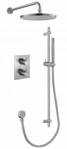 Flova BN-LVT2WPK2-SQ Levo-BN SmartBOX Square Thermostatic 2-Outlet Shower Valve with Fixed Head & Handshower Kit