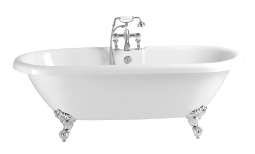 HERITAGE BOBW01 1760mm Oban Double Ended Roll Top Acrylic Bath - 2 Taphole