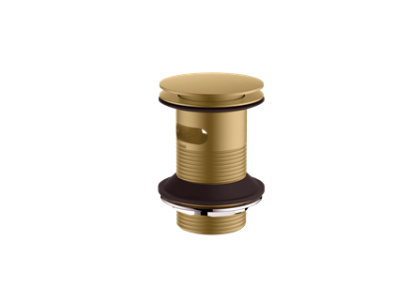 Britton Hoxton Sprung Plug Basin Waste - Un-Slotted Brushed Brass [HOX011BB]