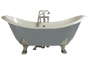 HERITAGE BRT40 1800mm Devon Cast Iron Double Ended Slipper Bath with 2 Tapholes
