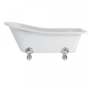 Burlington E1 Harwood Slipper Freestanding Bath 1700 x 730mm