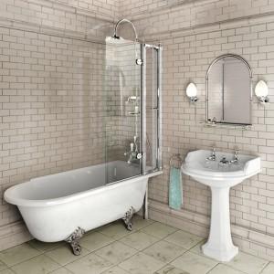 Burlington C10 Bath Screen with Access Panel - Chrome