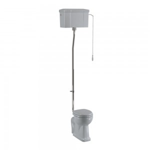 Burlington C28SGREY Bespoke Moon Grey High Level Single Flush Cistern with Fittings