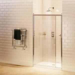 Burlington Sliding Door 1100mm (1060-1100mm) with soft close - Chrome  [C6S]   1950mm (h) - Glass 8mm  [C6S]
