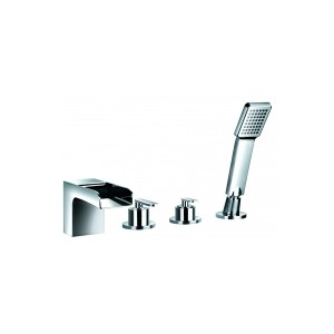 FLOVA Cascade 4-hole bath and shower mixer with shower set