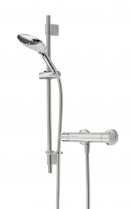 BRISTAN Claret Thermostatic Exposed Bar Valve with Adjustable Riser and Multi Function Handset Chrome