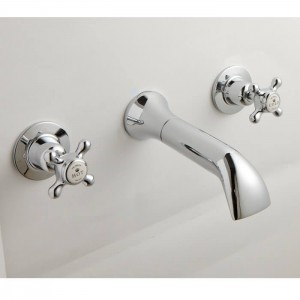 BC Designs CTA030 Victrion Crosshead Wall Mounted Bath Filler 3 Tapholes Chrome