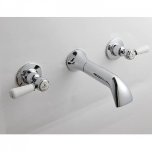 BC Designs CTB031 Victrion Lever Wall Mounted Basin Filler 3 Tapholes Chrome