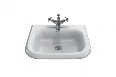 Burlington & Clearwater B7E Roll Top Basin with Overflow (Small) 550 x 470mm 0TH White