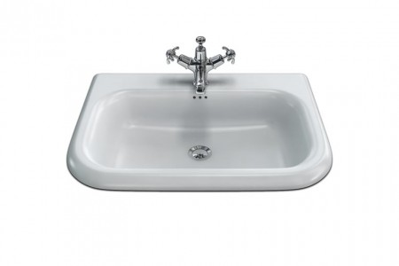 Burlington & Clearwater B8E Roll Top Basin with Overflow (Medium) 650 x 470mm 0TH White