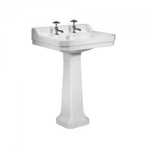 Tavistock DB850S Vitoria Pedestal Basin 610 x 505mm 2 Tapholes White