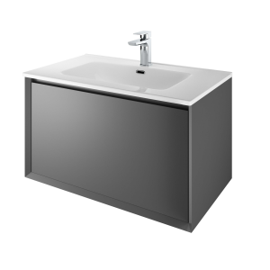The White Space DISF80AG Distrikt 81cm Wall Hung Vanity Unit - Anthracite Grey
