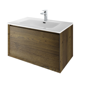 The White Space DISF80TO Distrikt 81cm Wall Hung Vanity Unit - Oak