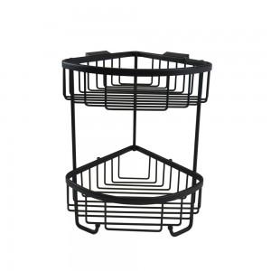 Roman - Double Corner Basket with Hooks Black  [RSB05B]