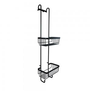 Roman - Double Hanging  Basket with Hooks Black  [RSB01B]