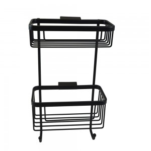 Roman - Double Rect Wall Basket with Hooks Black  [RSB07B]