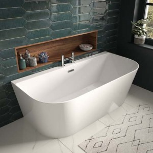 The White Space DSH17 Freestanding D-Shape Back To Wall Bath 1700 x 800mm - White