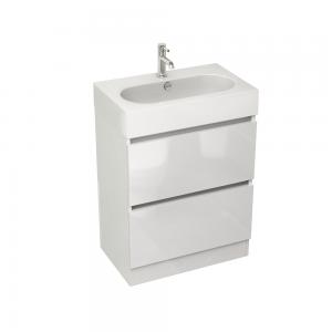 Imex Ceramics EC60FSWG Echo 600mm Two Drawer Floor Mounted Basin Unit White Gloss