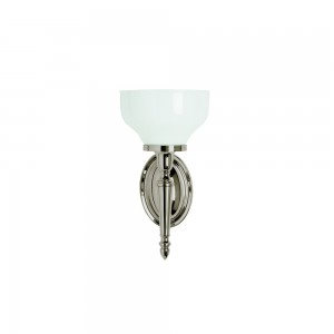 Arcade Frosted Cup Glass shade - 18.5 x 32.5h x 17cm. 40W G9 bulb. IP44 - Nickel  [ELAL11]