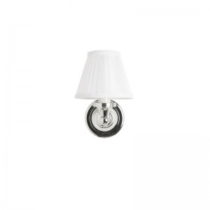 Burlington White Fine Pleated - Round Base 15(w) 22.5(h) 18(d)cm. 40W G9 bulb. IP44 - Chrome  [ELBL12]