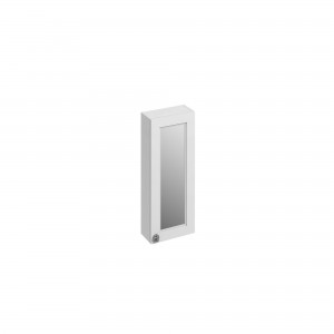 Burlington Single Door Mirror Cabinet 30 x 75h x 15cm with soft close mirrored door and two adjustable glass shelf. Matt White  [F3MW]