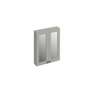 Burlington Double Door Mirror Cabinet 60 x 75h x 15cm with two soft close mirrored doors and two adjustable glass shelf. Grey  [F6MG]