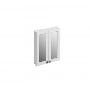 Burlington Double Door Mirror Cabinet 60 x 75h x 15cm with two soft close mirrored doors and two adjustable glass shelf. Matt White  [F6MW]