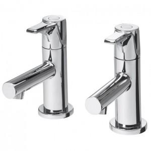 Triton 349606 Dene Basin Pillar Taps with Slotted Click Clack Waste Chrome