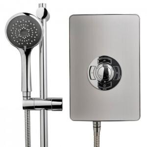 Triton 349350BR Aspirante Electric Shower 8.5k Brushed Steel