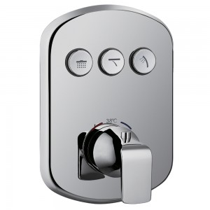 Flova FNTGO3 Fusion Thermostatic Concealed 3-Button GoClick Shower Valve