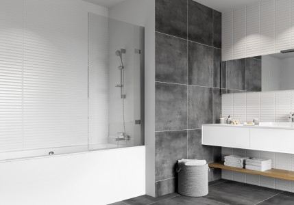 HAVEN H4D12CSL Haven8 Hinged Bath Screen Left Hand
