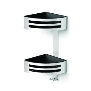 HIB ACSBCH07 (Chrome) Corner two tier shower basket modern 380 x 160mm