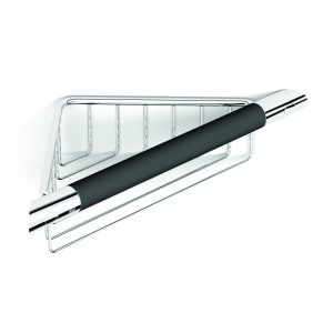 HIB ACSBCH09 (Chrome) Corner shower basket with rubber grab 70 x 240mm
