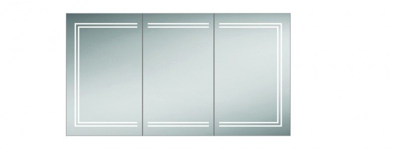 HIB 49700 Edge 120 Aluminium Mirrored Cabinet 700 x 1200mm