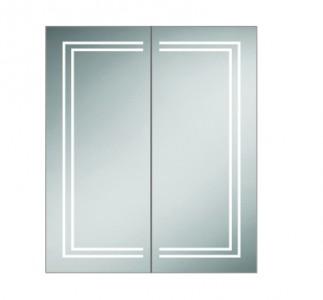 HIB 49500 Edge 60 Aluminium Mirrored Cabinet 700 x 600mm