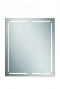 HIB 48600 Groove 80 LED Demisting Mirrored Cabinet with Bluetooth 700 x 800mm