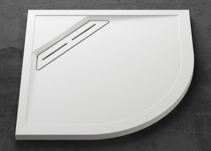 Offset Curved Shower Tray - Offset Curved 1000 x 900mm - Left Hand - White Slip-Resistant   C2TQ12090LHSR