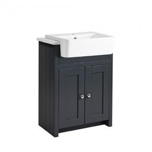 Tavistock LAN6SCTDGM Lansdown 60cm Vanity Unit for Semi-Recessed Basin - Dark Grey