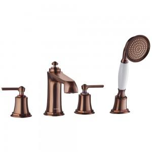 Flova LI4HBSM-ORB Liberty-Bronze 4-Hole Deck Mounted Bath & Shower Mixer