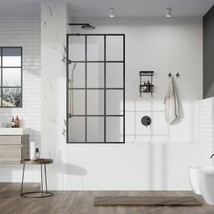 Roman - Liberty 10mm Fixed Bath Screen - Black Grid  [KLBSGPB]