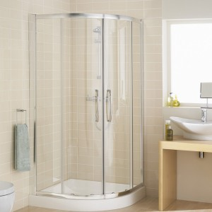 Lakes Classic - Semi Frameless Easy-Fit Offset Quadrant 1000 x 800 x 1850mm - Polished Silver  LKR1000800S