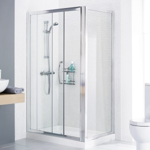 Lakes Classic - Semi Frameless Slider Door 1000 x 1850mm - Polished Silver  LKV2S100S