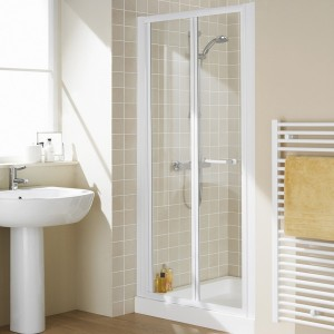 Lakes Classic - Semi Frameless Bi-Fold Door 1000 x 1850mm - Polished Silver  LKVB1000S