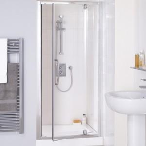 Lakes Classic - Semi Frameless Pivot Door 1000 x 1850mm - Polished Silver  LKVP100S