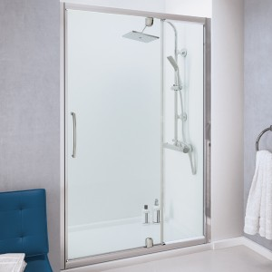 Lakes Classic - Semi Frameless Pivot Door With Intergrated In-Line Panel 1000 x 1850mm  LKVPI100S