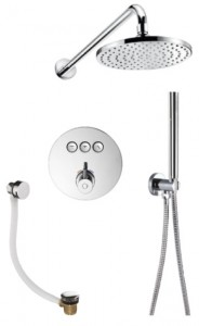 Flova LVT3WPK2-RO Levo-CH GoClick Round Thermostatic 3-Outlet Shower Valve with Fixed Head Handshower Kit & Bath Overflow Filler