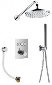 Flova LVT3WPK2-SQ Levo-CH GoClick Square Thermostatic 3-Outlet Shower Valve with Fixed Head Handshower Kit & Bath Overflow Filler